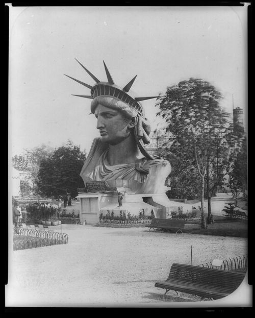 Liberty's head on display at the Paris Exposition of 1878.