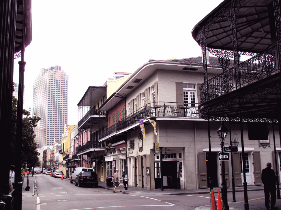 New Orleans' architecture is a blend of 18th and 19th Century Spanish and French influences with modern skyscrapers in the background.
