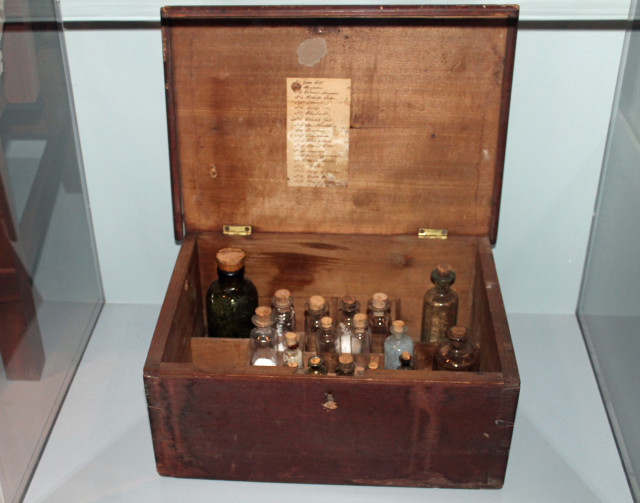A medicine chest from the early to mid 1800s. Doctors used a variety of drugs at the hospital. Emetics induced vomiting, laxatives caused an evacuation of the bowels, and laudanum, an opium extract, had a calming effect on patients.