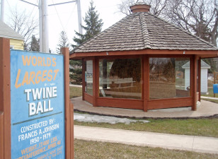 The world's largest ball of twine - rolled by one man - in Darwin, Minn. (Flickr/ Mykl Roventine)