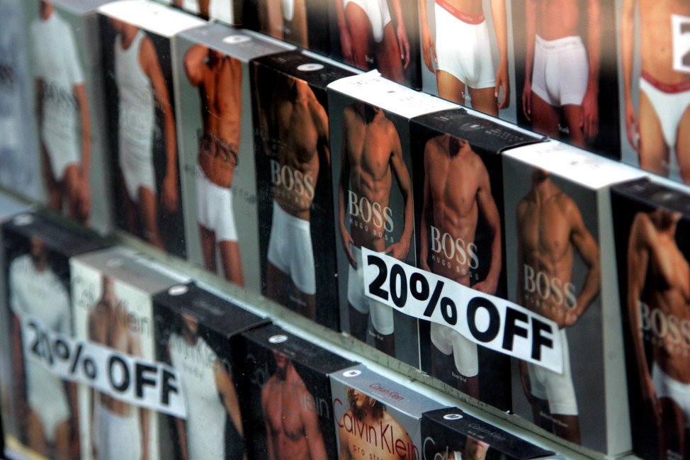 Sales of slimmer-silhouetted underwear bottoms for men grew 11 percent over last year, while looser fitting styles experienced declines. (AP Photo)