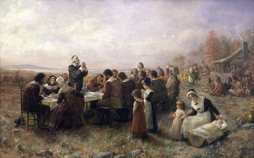 "The first joint Thanksgiving as envisioned by artist  Jennie Augusta Brownscombe (1850-1936), ""The First Thanksgiving"" (1914), oil on canvas, Pilgrim Hall Museum, Plymouth, Massachusetts."