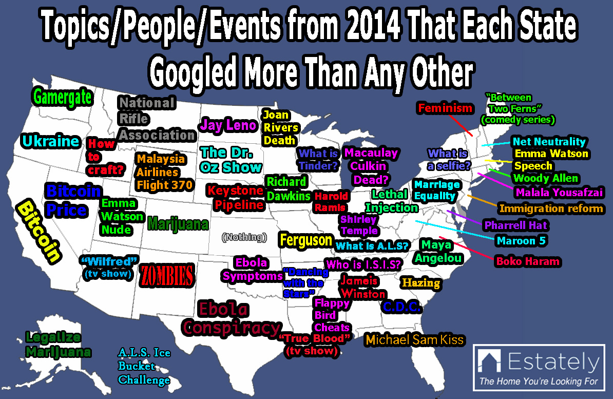 What Each US State Googled More Than Any Other in 2014 ...