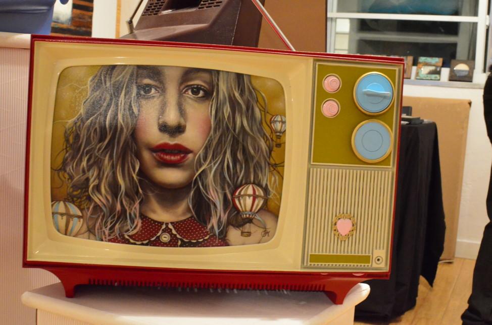Mixed media, by Marie-Eve Proteau, Aqua Exhibit, Aqua Hotel, Miami, Florida, Dec., 2014. (Elizabeth Pfotzer/VOA)