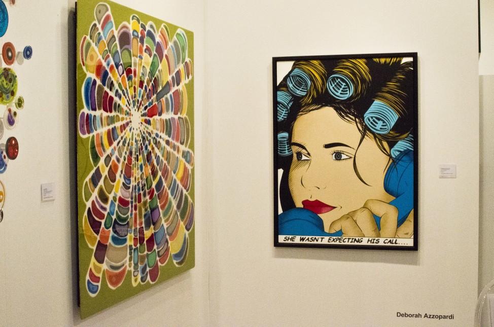 Painting by Deborah Azzopardi (right) at Art Miami, Miami, Florida, Dec., 2014. (Elizabeth Pfotzer/VOA)