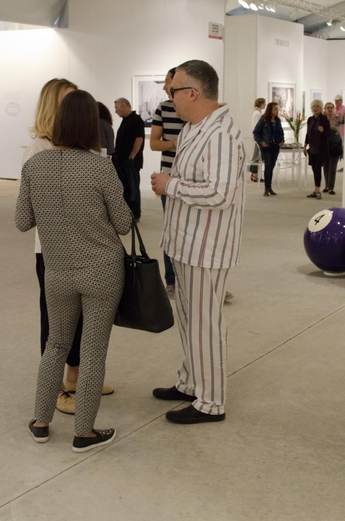 Pajamas as fashion statement, Art Miami, Dec., 2014. (Elizabeth Pfotzer/VOA)