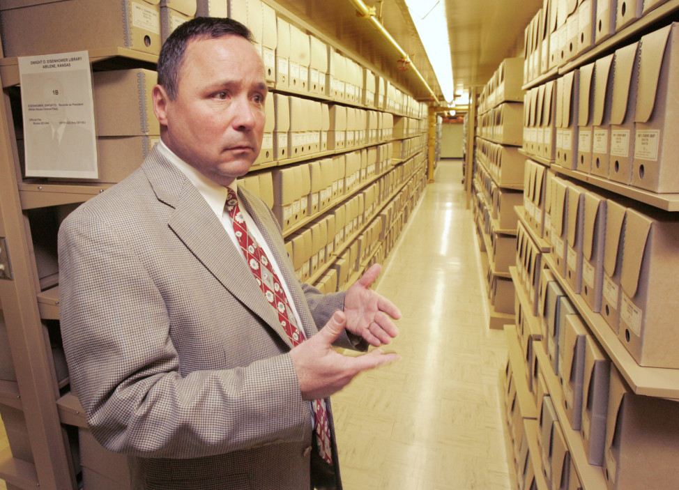 Karl Weissenbach, deputy director of the Eisenhower Library, stands in the archives during a tour Tuesday, Feb. 14, 2006 in Abilene, Kansas. The presidential library holds some 26 million pages of records related to his military career, his presidency and other subjects. (AP Photo)