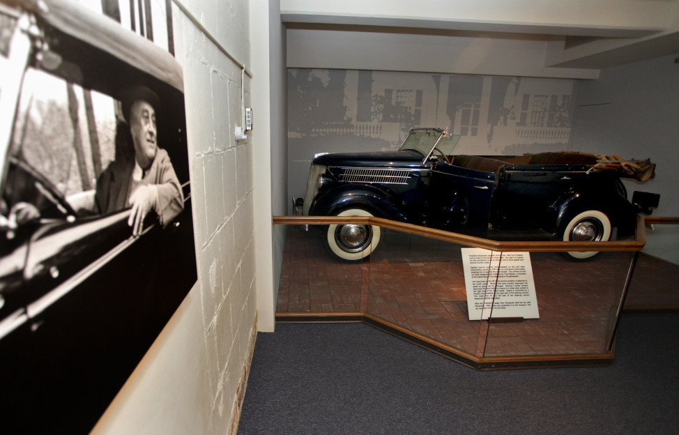 President Franklin D. Roosevelt's Hyde park car, a 1936 Ford Phaeton, is displayed at the Franklin D. Roosevelt Presidential Library and Museum in Hyde Park, New York. (AP Photo)