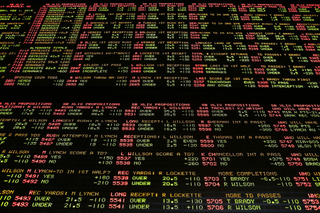 Super Bowl proposition bets are displayed on a board at the Westgate Superbook race and sports book Tuesday, Jan. 27, 2015, in Las Vegas. (AP Photo)