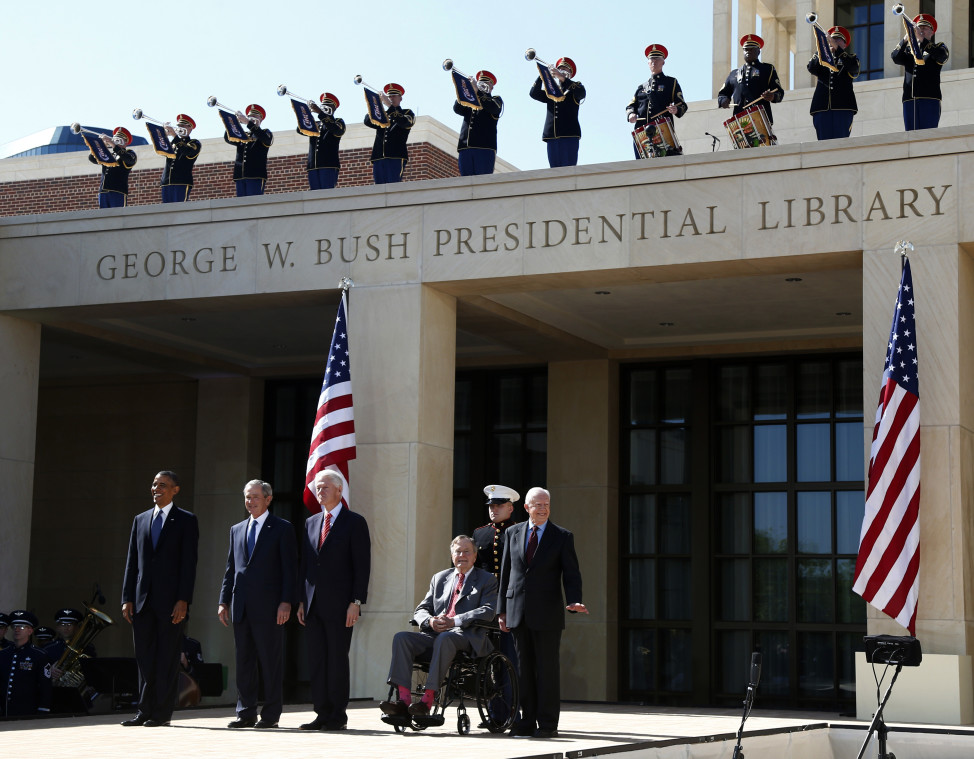 The dedication of the George W. Bush presidential library on the campus of Southern Methodist University in Dallas, Texas. President Barack Obama stands with former presidents, from second from left, George W. Bush, Bill Clinton, George H.W. Bush, and Jimmy Carter. (AP Photo)