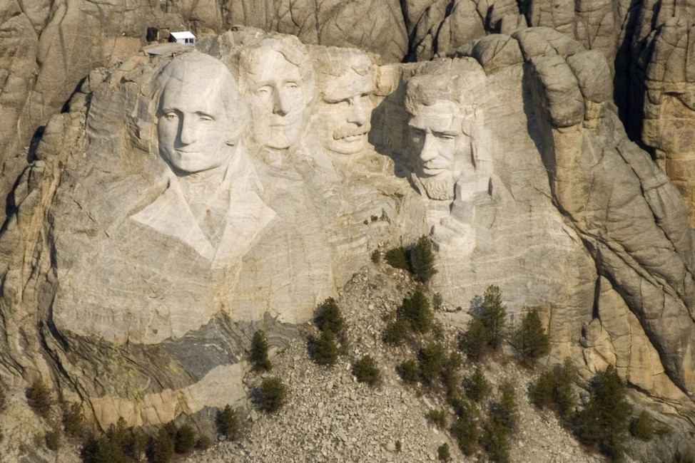 Mount Rushmore, a sculpture carved into the granite face of Mount Rushmore near Keystone, South Dakota, features the likenesses of U.S. Presidents George Washington, Thomas Jefferson, Theodore Roosevelt and Abraham Lincoln. (AP Photo)