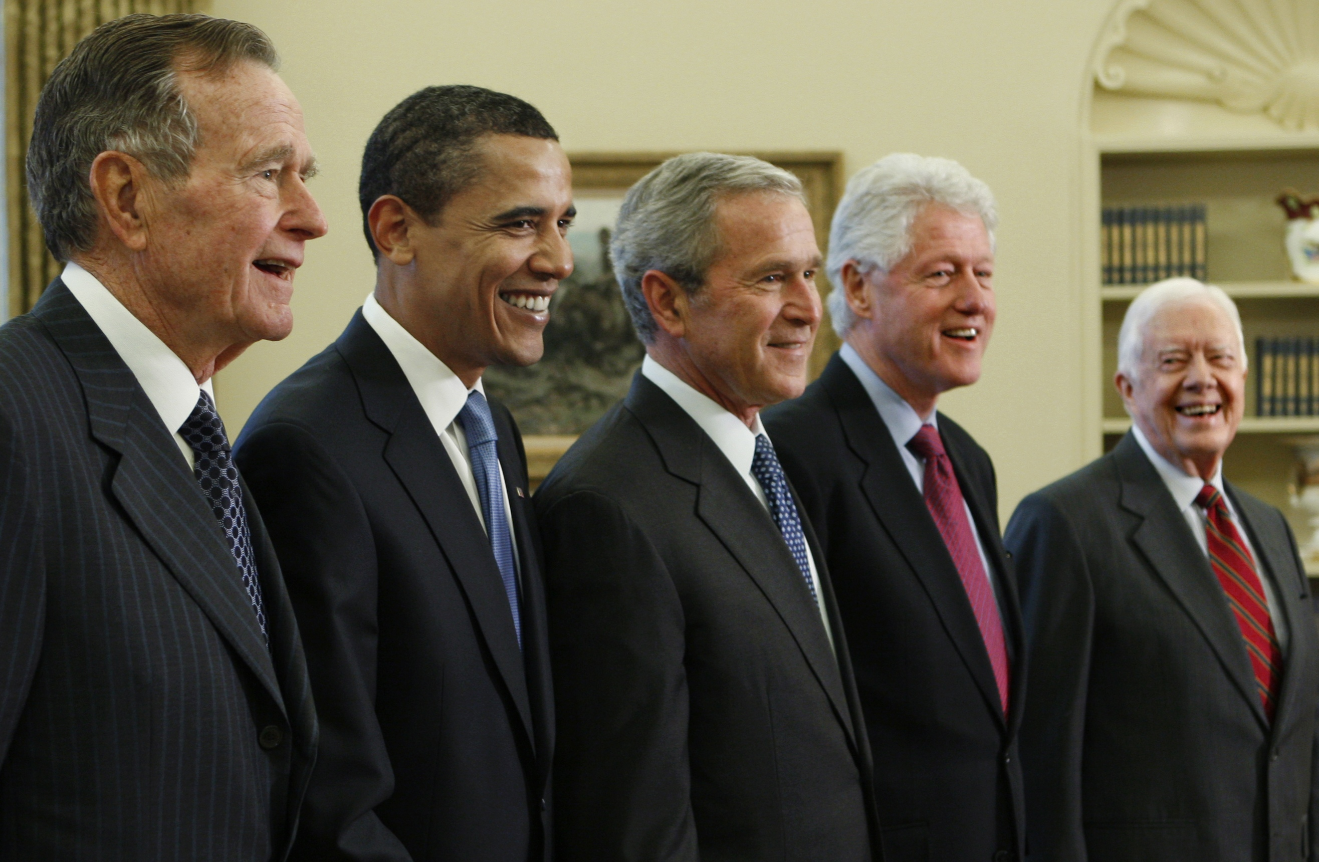 The so-called Presidents' Club. America's living presidents from left: Then President