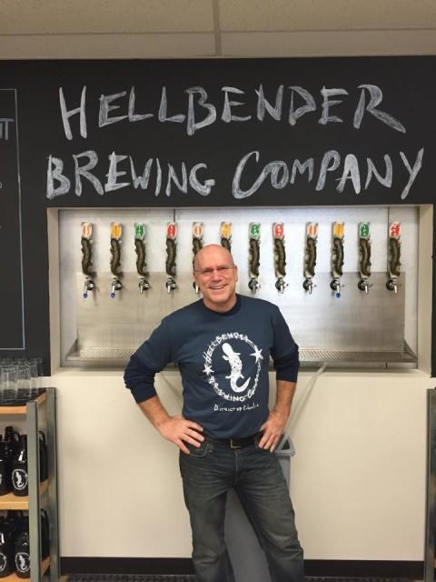 """Self-described """"beer geek"""" Jeff Custer, at Washington D.C.'s newest craft brewery, Hellbender."""