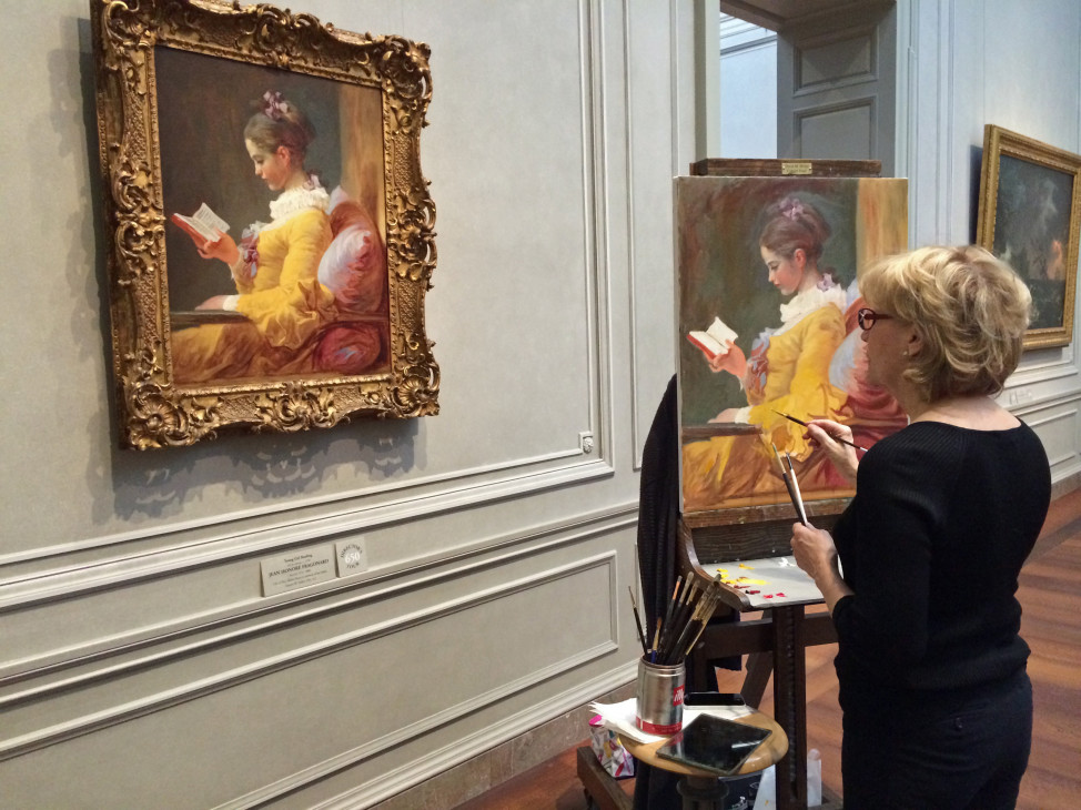 Pamela Jarrett, a full-time artist who has been painting for about 20 years, copies a painting at the National Gallery of Art.