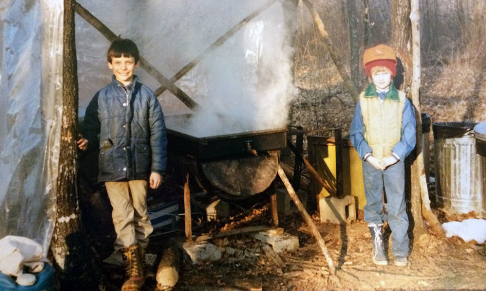 "The author and his sister at their family's first ""sugar shack"" in the early 1980s."