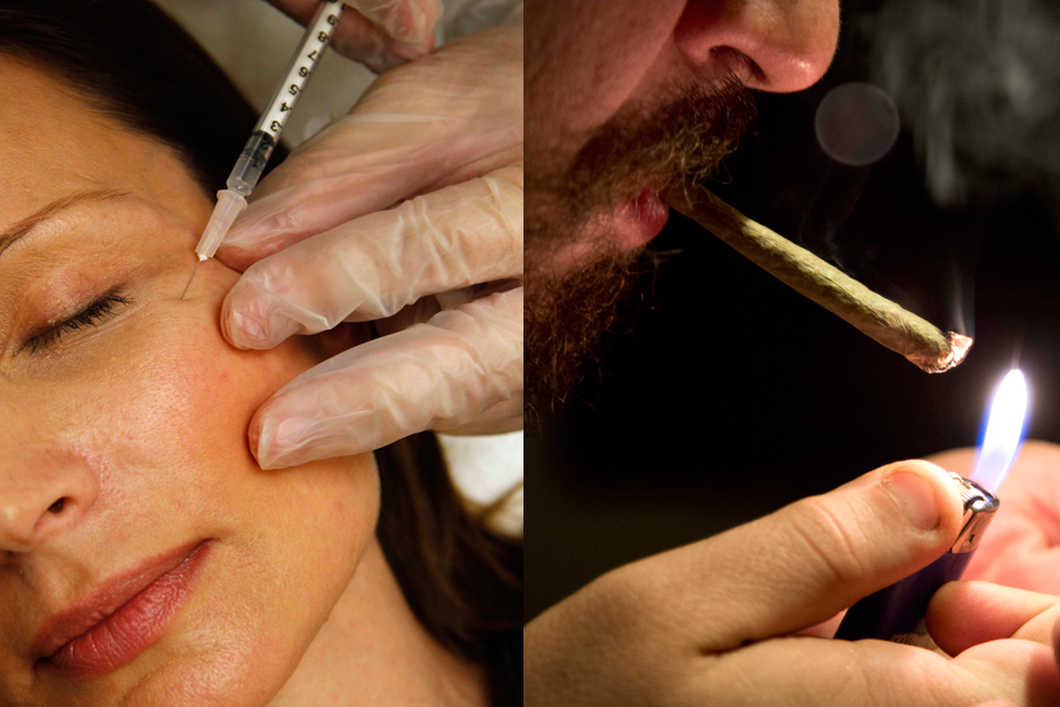 The costs of Botox (left) and marijuana (right) are among the most-searched in some U.S. states. (AP Photos)