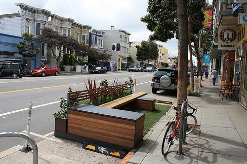 A parklet in San Francisco, California. (Photo by Tim Olsen via Flickr)