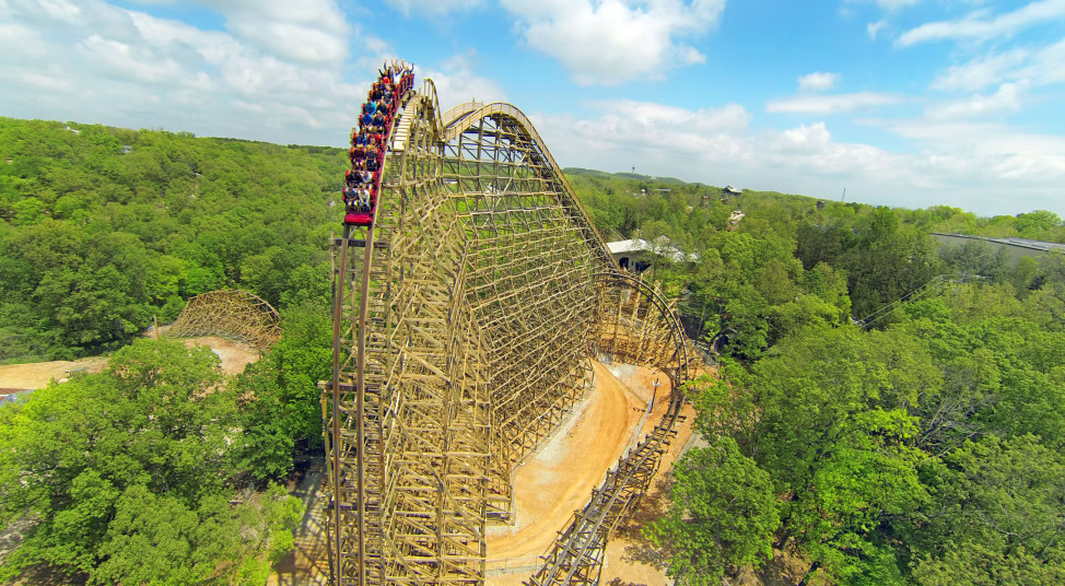 The Outlaw Run roller coaster at the Silver Dollar City theme park in Branson, Missouri. (AP Photo)