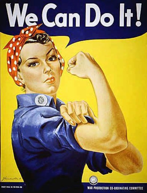 """Rosie the Riveter"" was introduced as a symbol of patriotic womanhood in the 1940's.  Rose Will Monroe played  ""Rosie the Riveter,"" the nation's poster girl for women joining the work force during World War II.  Monroe worked as a riveter building B-29 and B-24 military airplanes in Michigan. (AP Photo)"