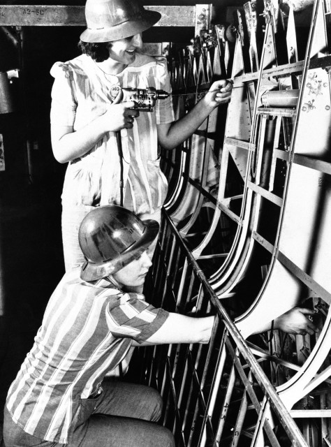 Women work at the Boeing Aircraft factory on the Pacific coast, June 15, 1942.