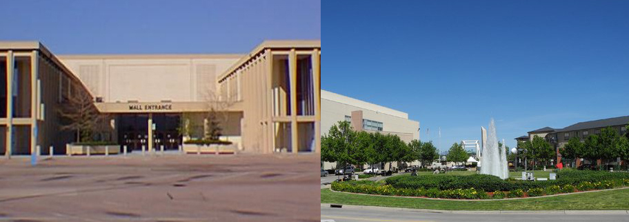 Cinderella City was the largest mall west of the Mississippi when it opened in 1968 in Englewood, Colorado. The retrofitted space is now a walkable urban center called Englewood City, featuring residences, a civic center and retail space. (Photo on left by Amber Case via Flickr, photo on right courtesy of the City of Englewood)