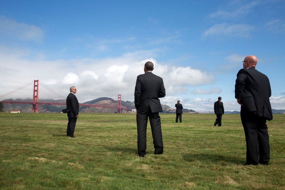 California, July 23, 2014. Viewing the Golden Gate Bridge in San Francisco. (Official White House Photo by Pete Souza)