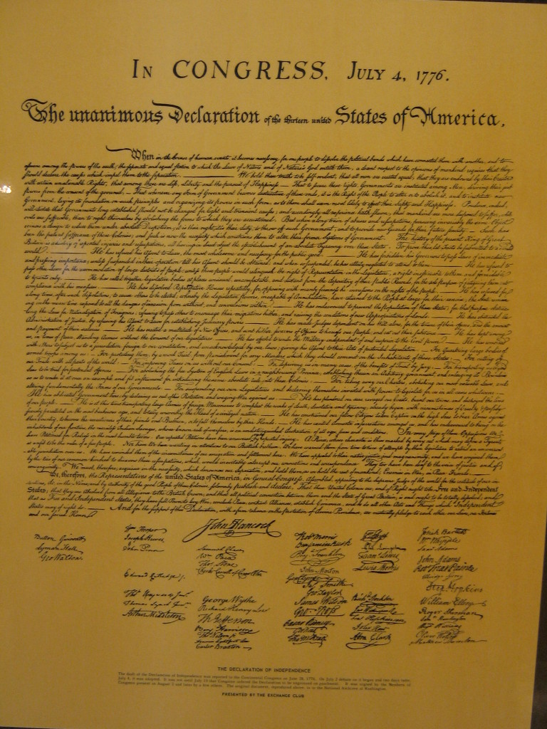 A copy of the Declaration of Independence, featuring John Hancock's prominent signature. (Photo by Flickr user Adam Theo under Creative Commons License)
