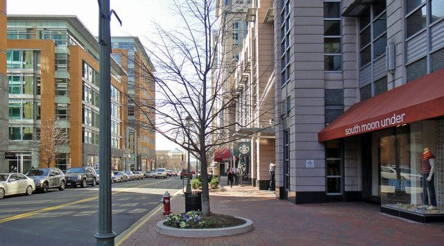 Reston Town Center provides this Washington, D.C. suburb with a walkable urban center, consisting of shops at the ground level and offices and housing on the upper floors. (Photo by Flickr user  Payton Chung under Creative Commons License)