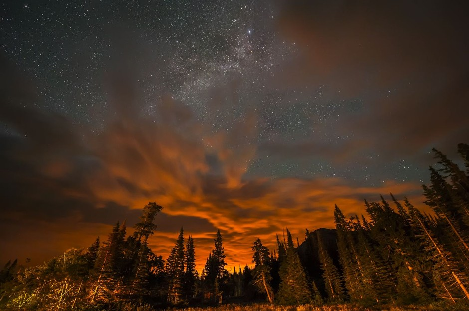 "Fire In the Sky Over Glacier National Park. Honorable mention, ""Weather, Water, and Climate"" by Sashikanth Chintla (Courtesy NOAA)"