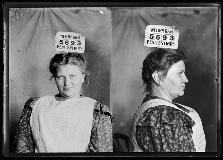 """Bertha Liebbeke, known as """"Fainting Bertha"""", was one of the Midwest's most notorious pickpockets. Bertha would pretend to faint into the arms of a well-dressed man. When he caught her, Bertha would pick his pocket. (Nebraska State Historical Society)"""