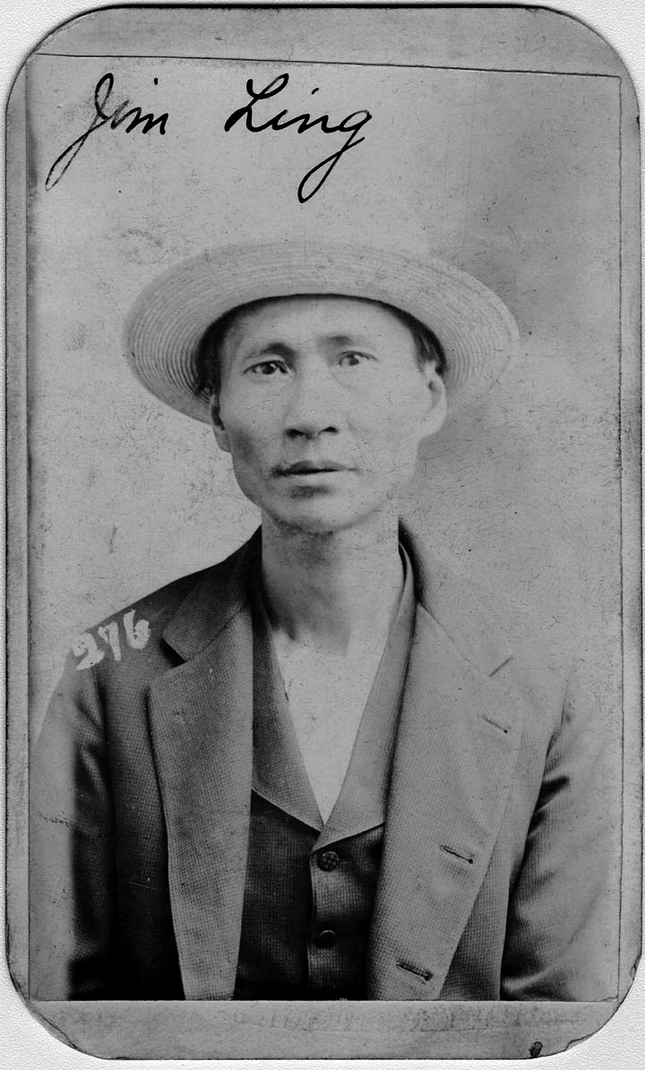 """Jim Ling was arrested on June 3, 1898, for running an opium joint. On the back of his mug shot, his occupation is listed as """"thief"""". (Nebraska State Historical Society)"""