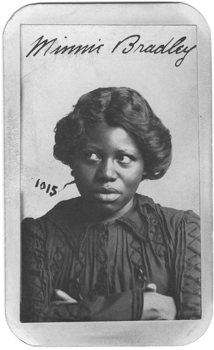 """Minnie Bradley was arrested for larceny from a person. She listed occupation as """"prostitute"""". (Nebraska State Historical Society)"""