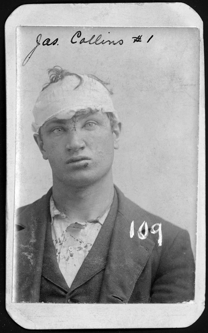 James Collins, a 23-year-old tailor, was arrested for burglary on May 12, 1897. According to the police record, Collins escaped and was rearrested, which might account for his head bandage and other apparent injuries. (Nebraska State Historical Society)