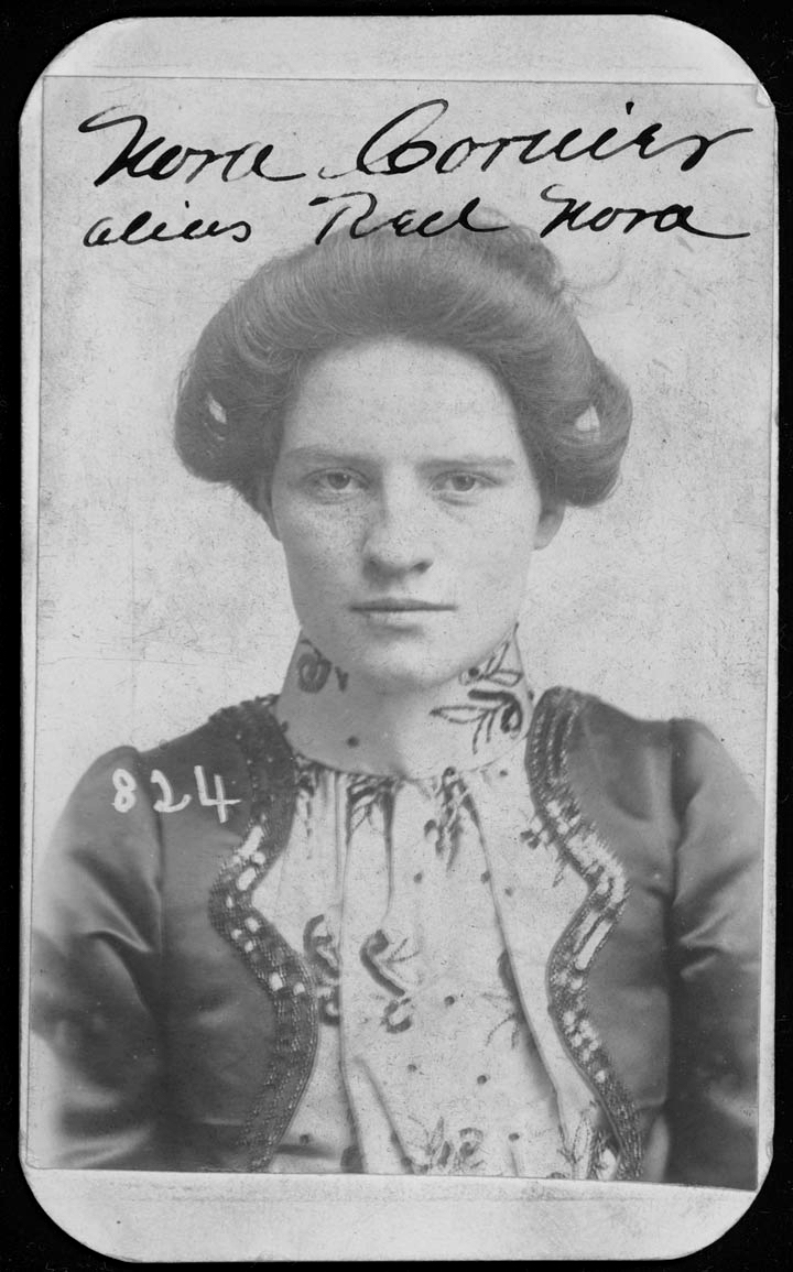 Nora Courier, 22, was arrested on March 31, 1901, for stealing a horse. (Nebraska State Historical Society)