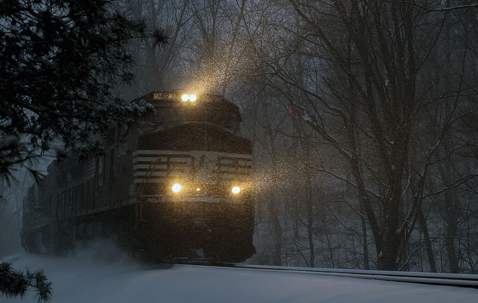 "Snow Express. First place, ""Weather, Water, and Climate"" by Conrad Stenftenagel. (Courtesy NOAA)"