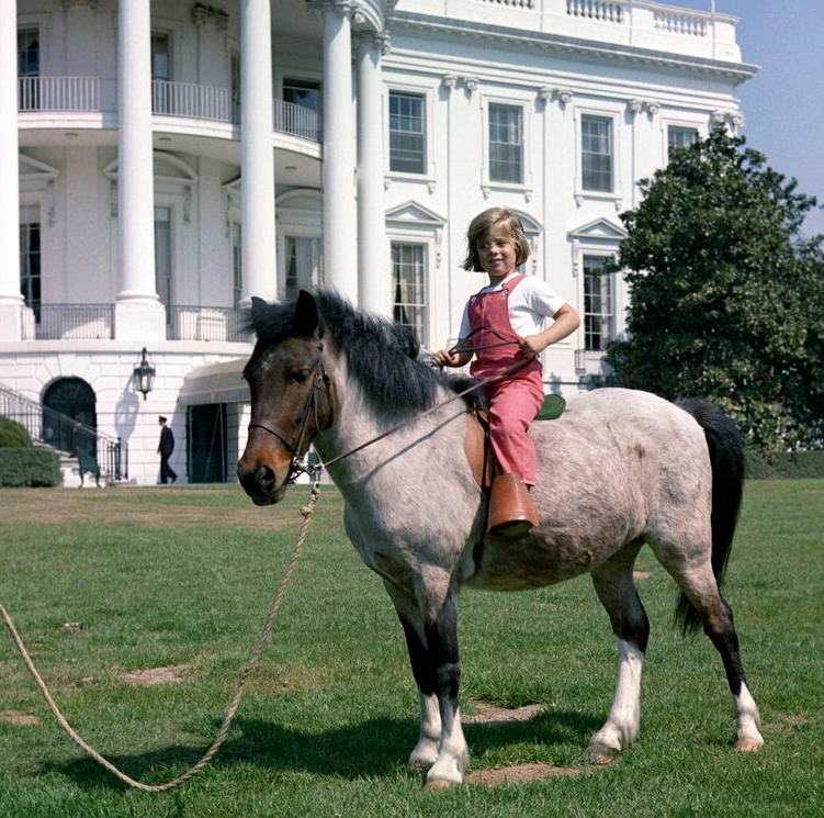 Caroline Kennedy rides Macaroni at the White House in the early 1960s. (Courtesy JFK Library)