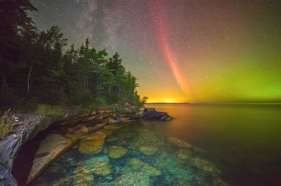 "Proton Arc Over Lake Superior. Second place, ""Weather, Water, and Climate"" by Ken William. (Courtesy NOAA)"