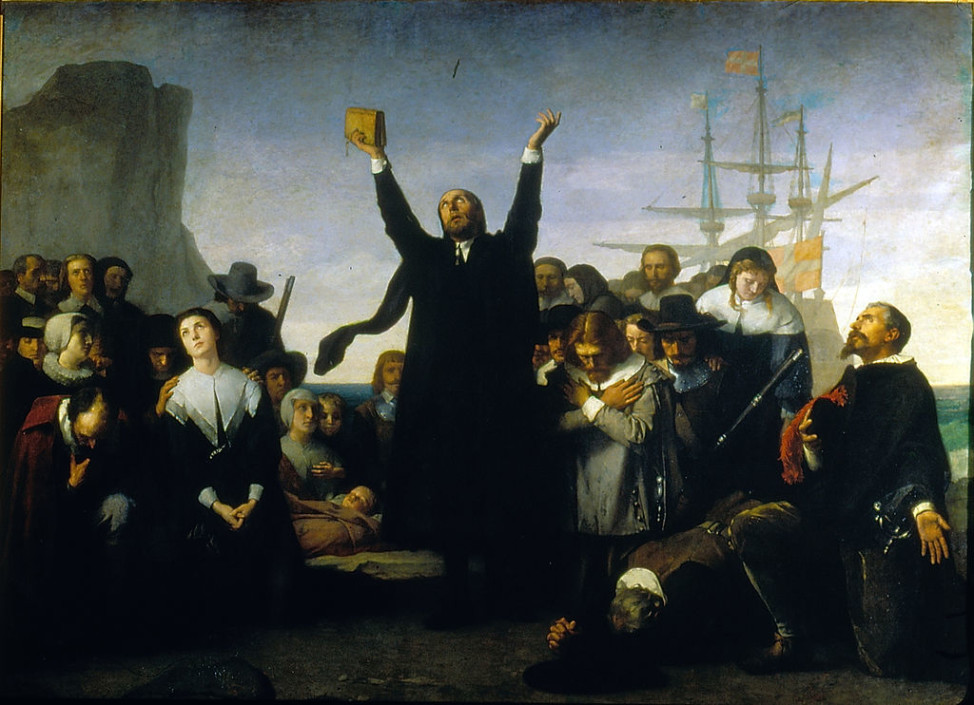 "The painting ""Desembarco de los Puritanos en America,"" or ""The Arrival of the Pilgrims in America,"" by Antonio Gisbert (1834-1902) depicts the Puritans landing in America in 1620.  (Public domain via Wikimedia Commons)"