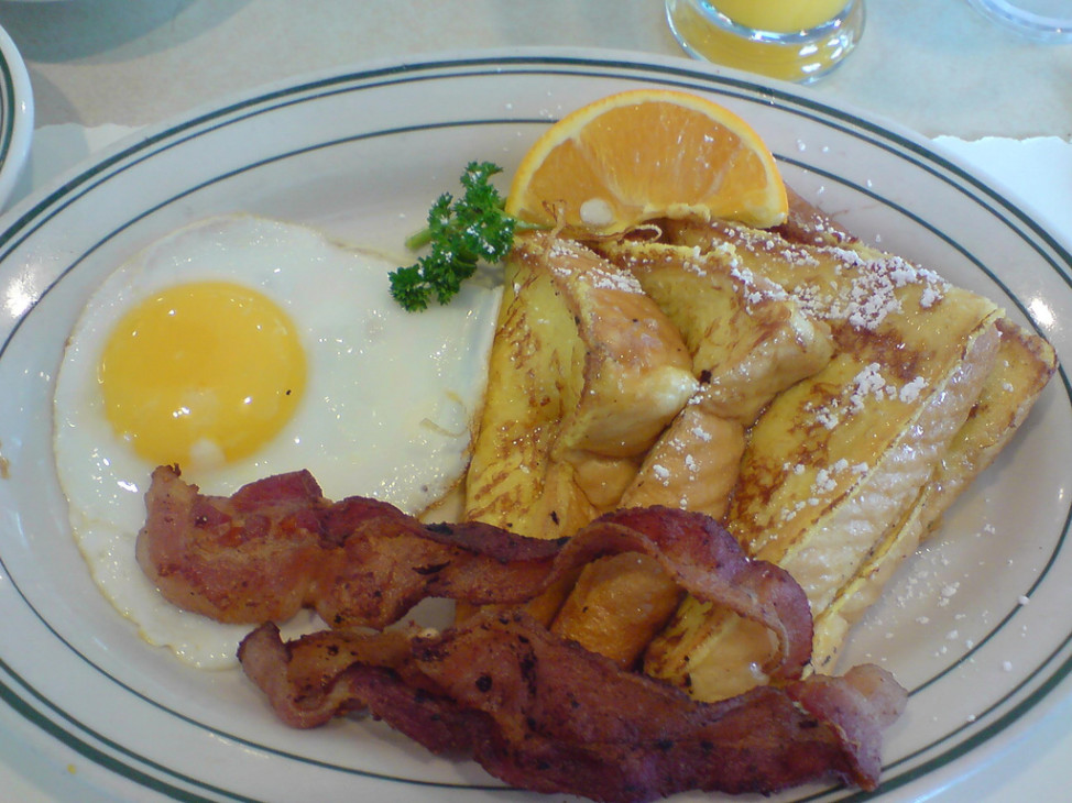 Bacon, French toast and eggs. (Photo by Flickr user Karl Baron via Creative Commons license)