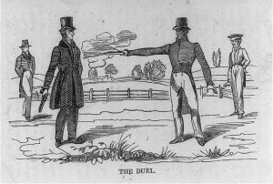The Duel. Andrew Jackson killing Charles Dickinson. A print of a woodcut. circa 1834.  (Library of Congress)