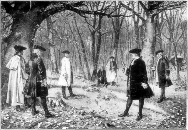 Aaron Burr and Alexander Hamilton face off in a duel of honor. By Illustrator not identified. From a painting by J. Mund. (Public domain via Wikimedia Commons)