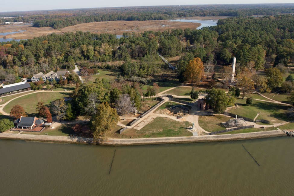 Aerial view of James Fort, Jamestown Island, Virginia. (Courtesy of Jamestown Rediscovery Foundation, Preservation Virginia)