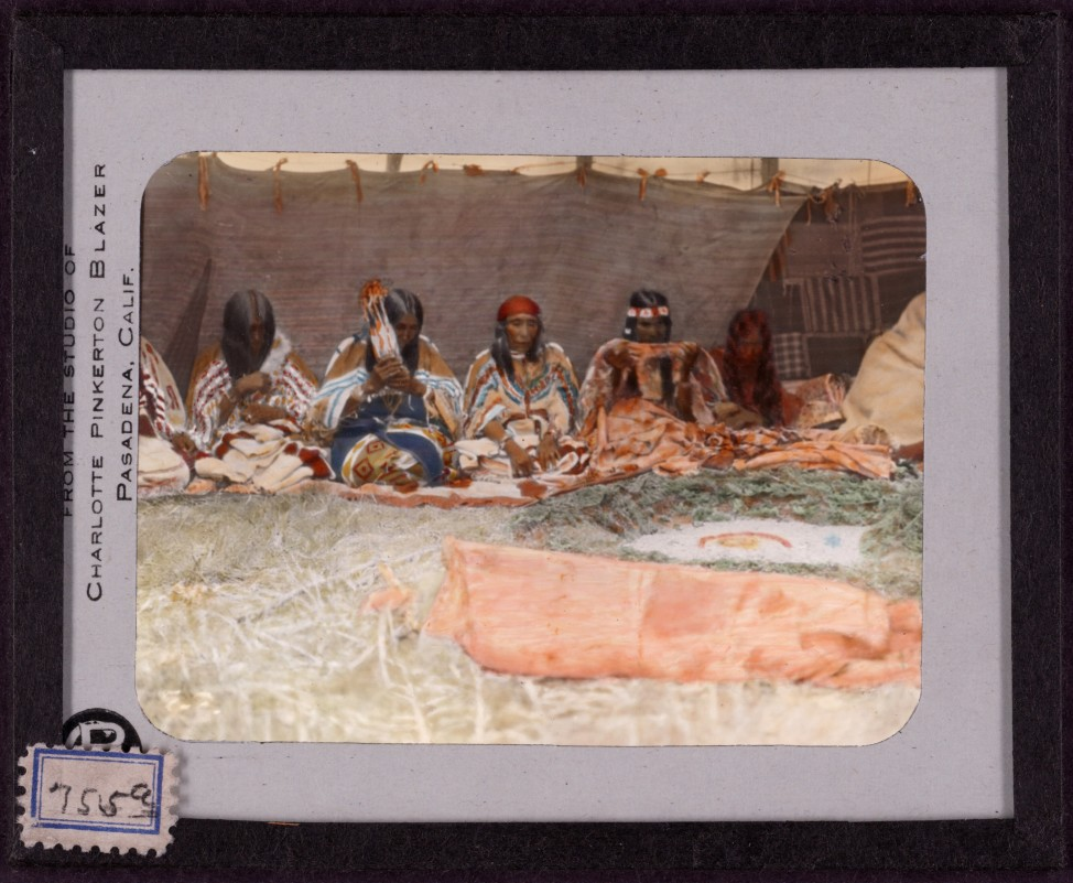 Ceremony of the fasting woman. Hand-painted lantern slide by photographer Walter McClintock (1870-1949) of the Blackfoot Indians of Montana. (Yale Collection of Western Americana, Beinecke Rare Book and Manuscript Library)