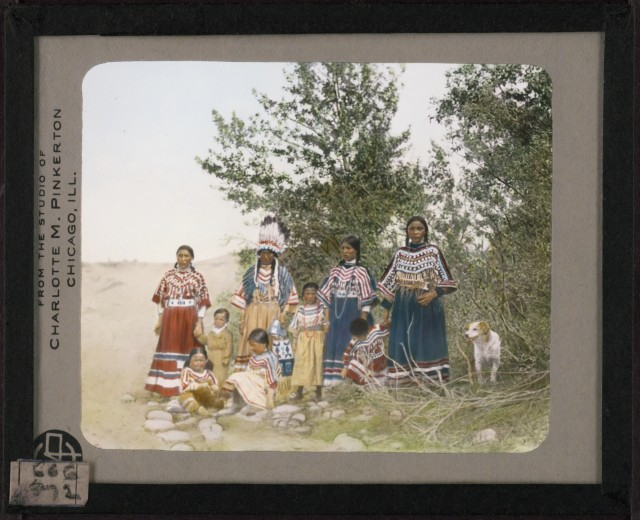 Hand-painted lantern slide by photographer Walter McClintock (1870-1949) of the Blackfoot Indians of Montana. (Yale Collection of Western Americana, Beinecke Rare Book and Manuscript Library)