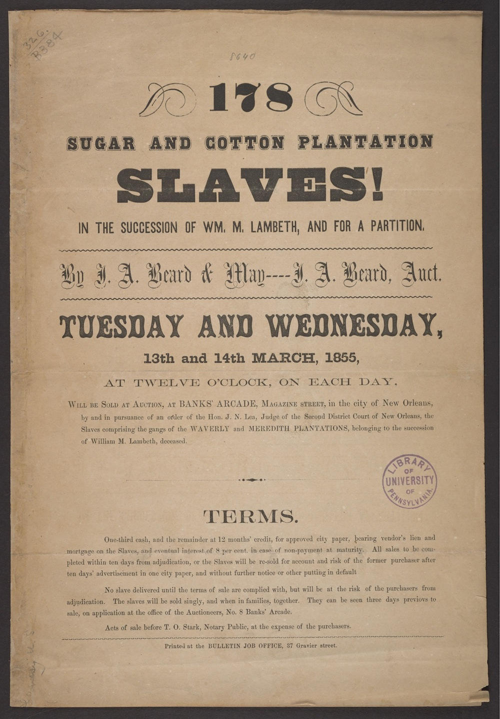 An 1855 pamphlet from J.A. Beard & May in New Orleans (University of Pennsylvania Libraries)