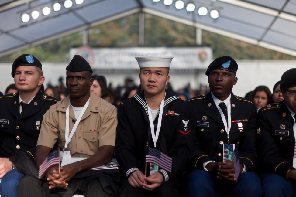A group of U.S. servicemembers were part of a group of 125 immigrants that received their citizenship on Liberty Island in New York City Oct. 28, 2011.  (DoD photo by Sgt Randall Clinton, U.S. Marine Corps via Flickr)