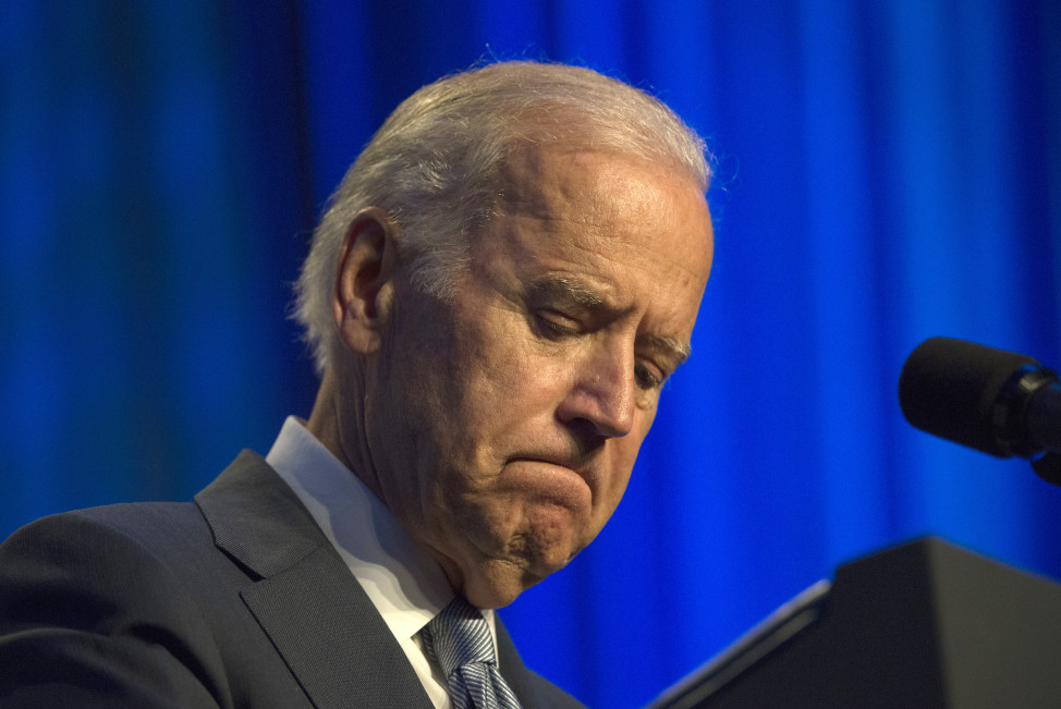 Vice President Joe Biden pauses while speaking at an event in Washington, July 16, 2015. (AP Photo)