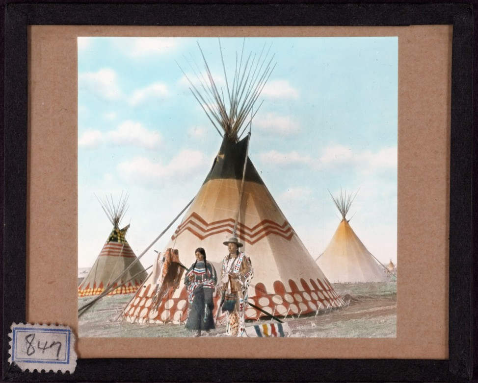 Handpainted lantern slide by photographer Walter McClintock (1870-1949) of the Blackfoot Indians of Montana. (Yale University Library)