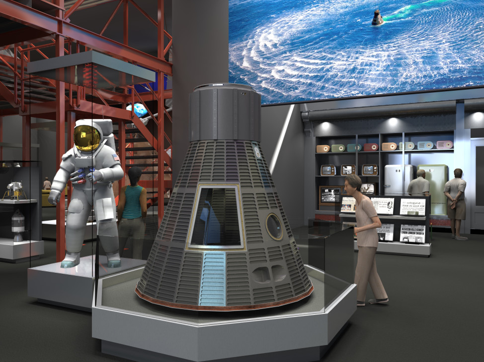 "The $500,000 raised will go towards a climate controlled display case for Neil Armstrong's Apollo 11 spacesuit display in the ""Destination Moon"" gallery, set to open in 2020. (Artist's rendering courtesy Smithsonian Institution)"