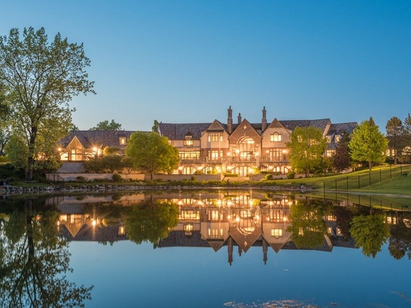 "This home in Illinois, called ""Hidden Ponds"", sells for $18.775 million and has eight bedrooms and a full-size British pub. (Courtesy Sotheby's International Realty)"